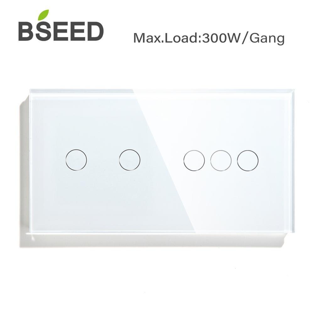 Сенсорный выключатель Bseed, 2 клавиши, 3 клавиши, европейский стандарт, сенсорный датчик черного, белого, золотого цветов, стеклянная панель для домашнего ремонта