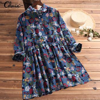 S-5XL Celmia Bohemian Floral Print Dress Women Vintage Mini Dresses 2019 Fashion Long Sleeve Pleated Shirt Vestidos Plus Size 5