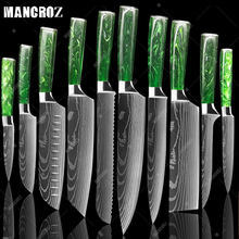 MANCROZ Kitchen Knife Set Green Resin Handle Laser Damascus Pattern Chef Knife Sharp Santoku Cleaver Slicing Knives Utility TOOL