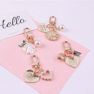 Cute Heart Keychain Women Girl Korean Fashion Shell Pearl Key Chain Bag Charms Gold Key Ring Trinket Airpods Key Accessories(China)