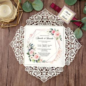 Image 2 - 100 piece Rose Gold Color Laser Cut Wedding Invitations with Gold Glitter Border and Envelope CW2519