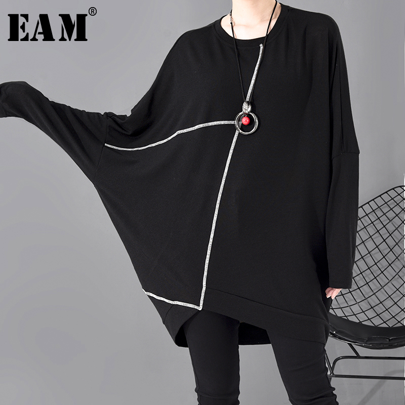 [EAM] Women Black Split Joint Big Size T-shirt New Round Neck Long Batwing Sleeve  Fashion Tide  Spring Autumn 2020 1R630
