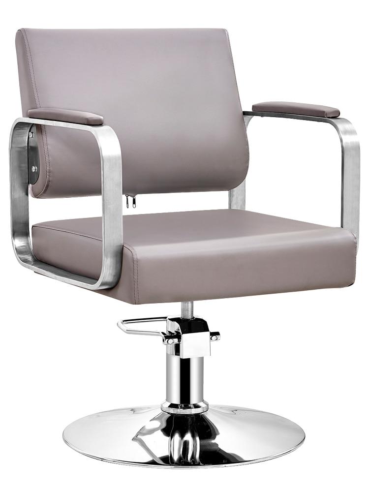 Hair Salon Special Barber Shop Chair Lift Chair Chair Net Red Stainless Steel Hair Salon Hairdressing Chair Barber Chair