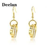 DEELAN Rose gold dangle earrings accessories korean fashion drop summer luxury crystal zircon geometric earring women jewelry