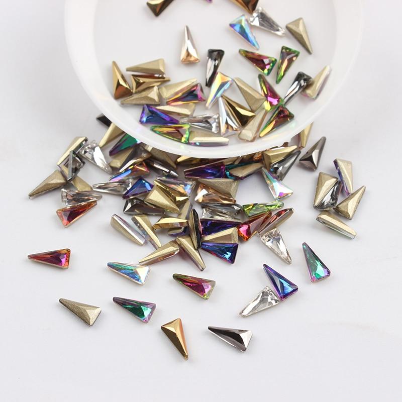 Все смешанные цвета, 30 шт, стразы для дизайна ногтей, сделай сам, без горячей фиксации, стеклянные камни для ногтей, драгоценные камни для 3D украшения для ногтей - Цвет: 4x8mm  Long Triangle