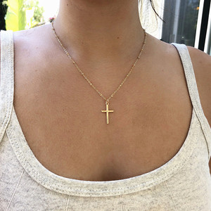 New Arrival Cross Pendant Necklace Collier Femme Gold Silver Color Cross Choker Necklace Collar Jewelry XL226(China)