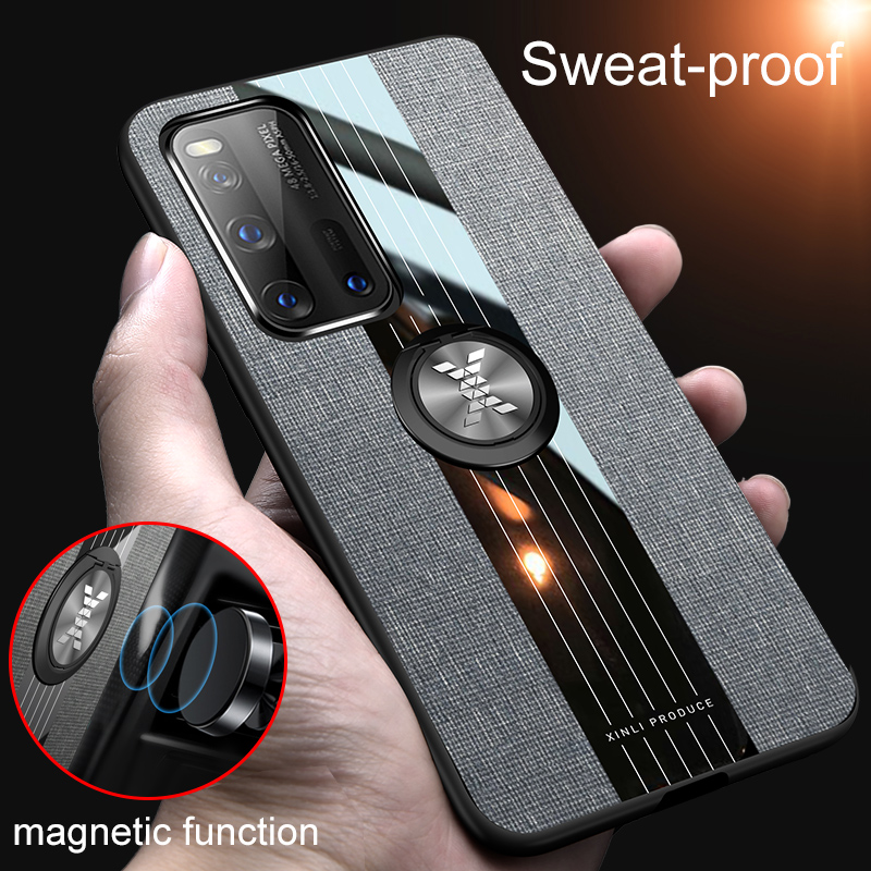 For Huawei P40 Pro Plus P30 P20 Lite Case Cloth Car Magnetic Holder Cover For Huawei Mate 30 20 Nova 6 7 SE Honor X10 30 Case