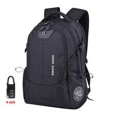 Swiss Mochila para ordenador portátil de 17 pulgadas para hombre y mujer, de viaje con carga USB morral, mochilas antirrobo impermeables para la escuela