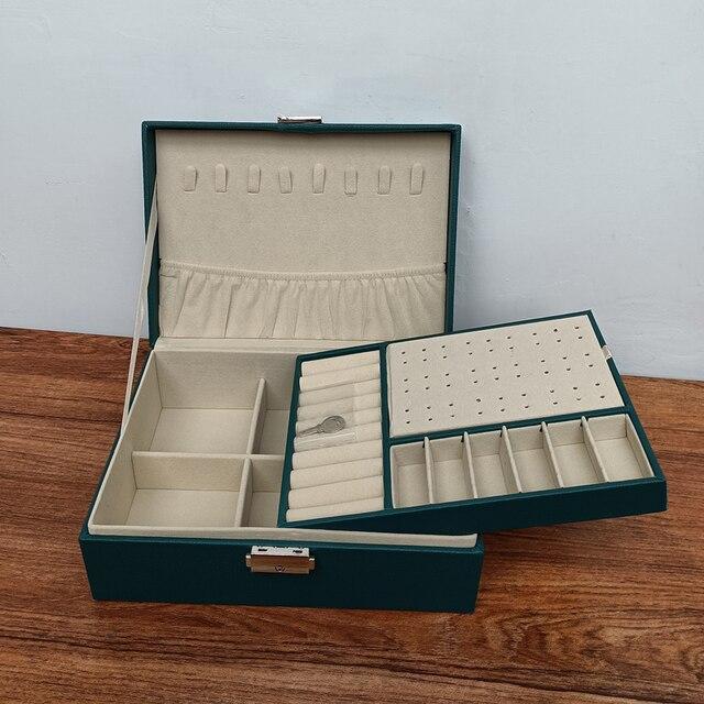 Caixa de armazenamento de jóias de couro do plutônio caixa de embalagem multi-função de estilo europeu portátil com gaveta presente de inverno 5