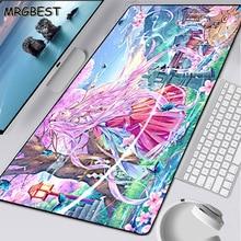 MRGBEST Anime Pink Long-haired Girl Black Lockedge Mouse Pad Desktop Heated Mousepads Support Custom Keyboard 900x400mm Desk Mat