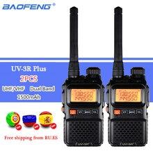 2 sztuk BAOFENG UV 3R Plus dwuzakresowy bezprzewodowy przenośny CB Walkie Talkie UV3R + domofon nadajnik FM Ham Radio UV 3R Two Way Radio