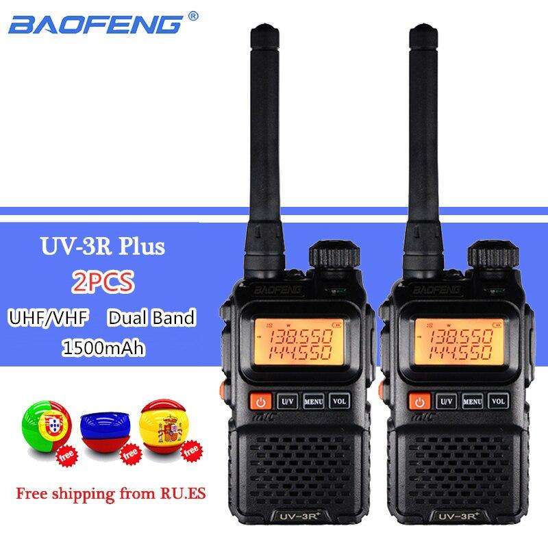 2PCS BAOFENG UV-3R Plus Dual Band Wireless Portable CB Walkie Talkie UV3R+ Intercom FM Transceiver Ham Radio UV 3R Two Way Radio