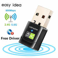 Controlador gratuito adaptador Wifi USB 600Mbps adaptador Wifi 5 ghz antena adaptador Wifi USB Ethernet Lan Wifi Dongle AC Wifi receptor