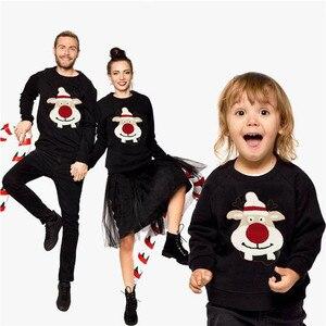 Одинаковые комплекты для семьи, для мамы и ребенка, для мужчин и женщин, Рождественский свитер с оленем, пуловер с капюшоном, топы, Рождестве...