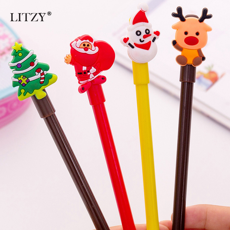 4 Pcs/set Cartoon Christmas Tree Santa Claus Snowman Elk Gel Pens For School Office Supply Escolar Neutral Pen Stationery Gift