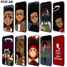 IYICAO Huey Freeman BOONDOCKS Soft Black Silicone Case for iPhone 11 Pro Xr Xs Max X or 10 8 7 6 6S Plus 5 5S SE