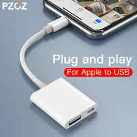 PZOZ 2 in 1 OTG For Apple iPhone to USB Camera Reader Charge Cable For IPhone 11 Pro X XS Max 8 7 6 USB Card Reader Splitter HUB