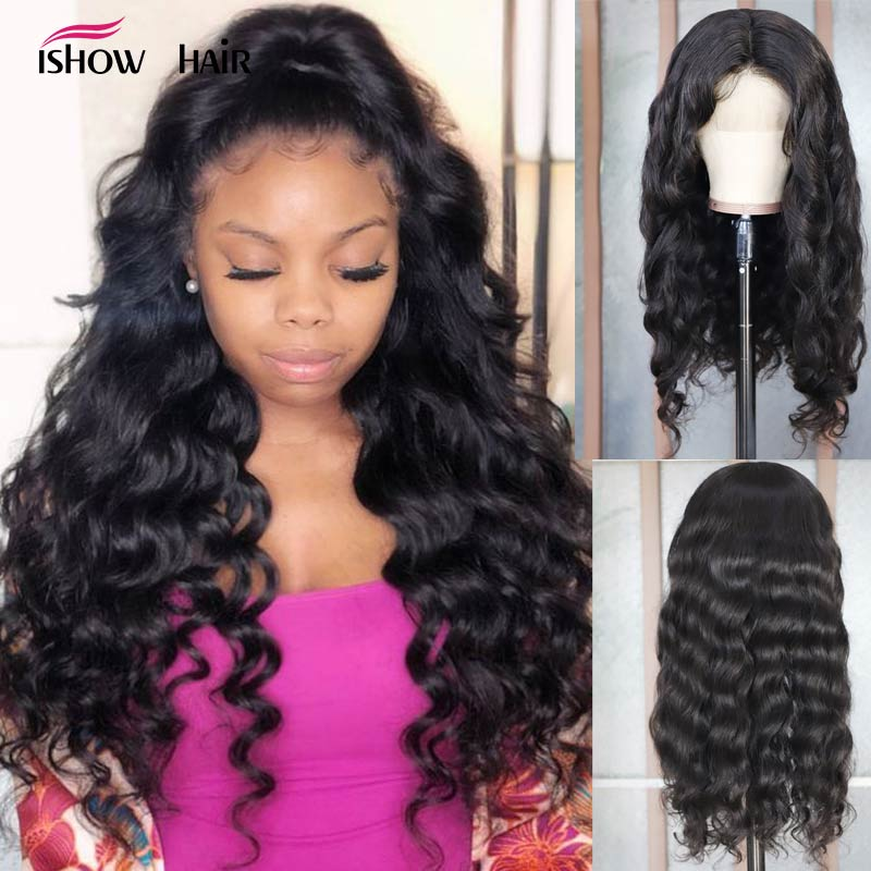 Ishow Loose Wave Wig 13X4 Lace Front Human Hair Wigs For Black Women Pre Plucked Brazilian