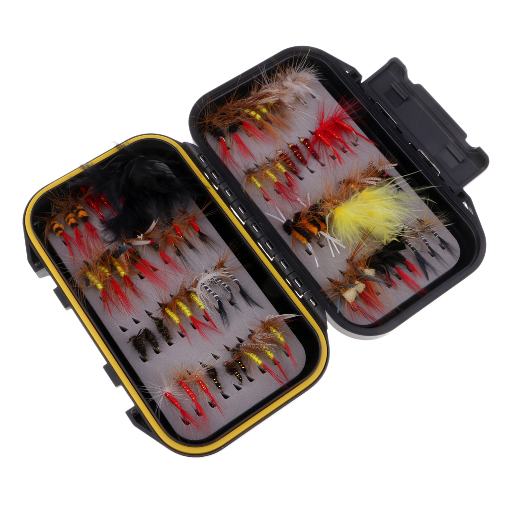 72pcs Wet//Dry Fly Fishing Flies Kit Assorted Trout Lure with Waterproof Box