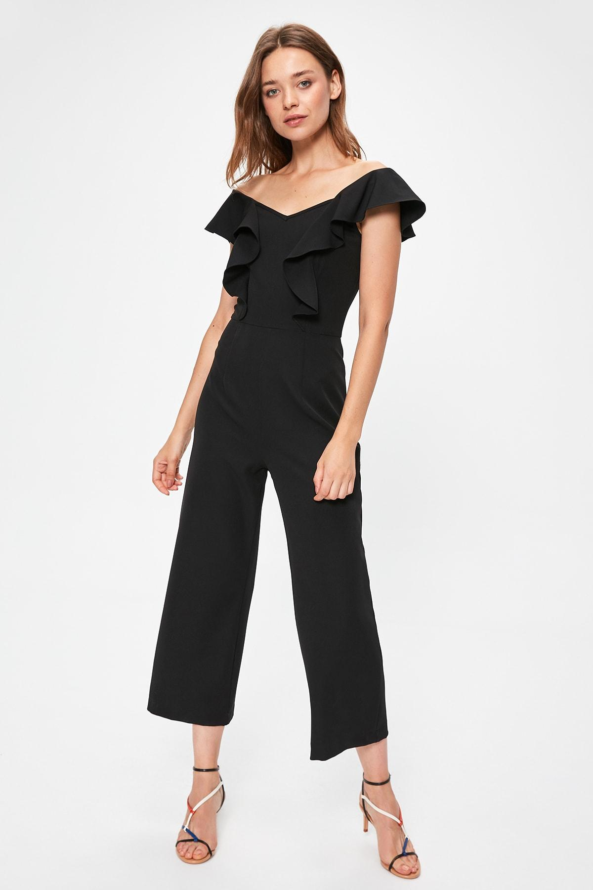Trendyol Black Flounces Jumpsuit TWOAW20TU0049