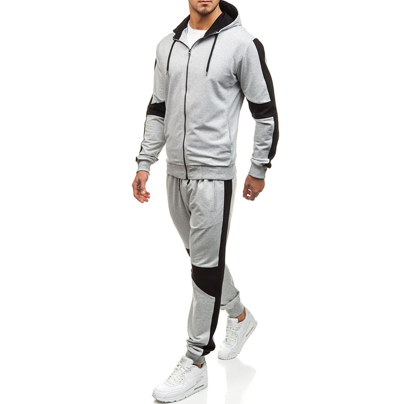AliExpress Europe And America Men Zipper Hoodie Sweatpants Loose-Fit Outdoor Fitness Sports Set Foreign Trade TZ18