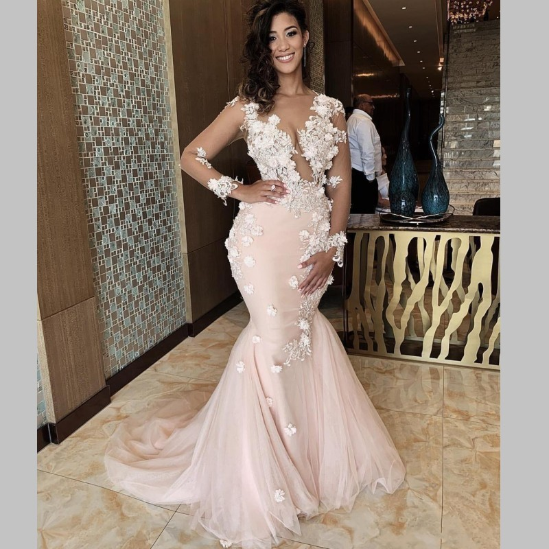 Illusion African Mermaid Prom Dresses Sheer Back Sexy 3D Appliques Lace Flowers Pageant Illusion Full Sleeves Evening Dress