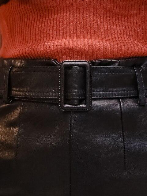 женская юбка с поясом из пу кожи элегантная черная средней длины фотография