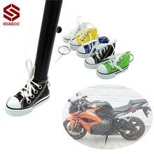 Pair Motorcycle Support Plate Foot Pad Side Stand Kickstand Protector Shoes Key Chain Keychain for Honda Yamaha Kawasaki Suzuki