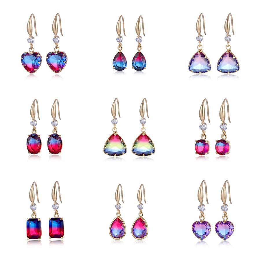 Boho Gradient Colorful Purple Pink Zircon Round Earrings for Women White Gold Rainbow Fire Crystal Wedding Long Earrings Jewelry