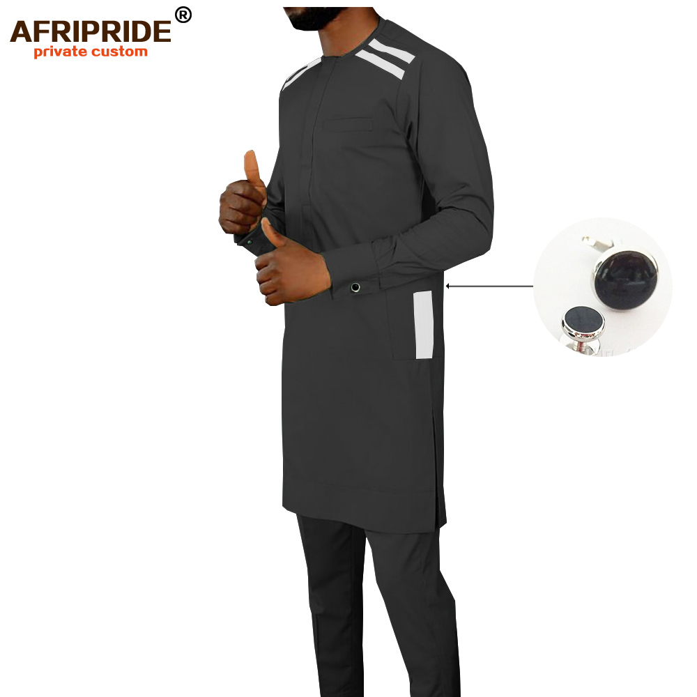 2019 African Men Clothing Set Dashiki Shirt And Ankara Pants Button Pocket Attire Wax Cotton Suit Outfit AFRIPRIDE A1916020