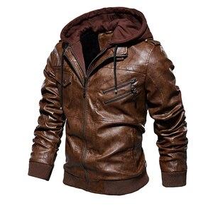 Image 3 - Hommes hiver chaud polaire vestes et manteaux automne hommes chapeau détachable en cuir vestes Outwear moto en cuir veste M 4XL