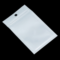 300 Pieces Clear White Ziplock Plastic Bag Reclosable Zipper Round Hang Hole Jewelry Cellphone Case Packaging Bags 23 Sizes