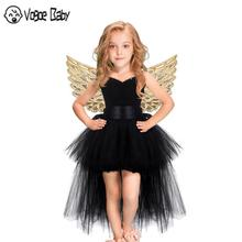 Black Girls Tutu Dress Tulle V-neck Train Girl Evening Birthday Party Dresses Kids Girl Ball Gown Dress Halloween Costume 2-9T цена в Москве и Питере