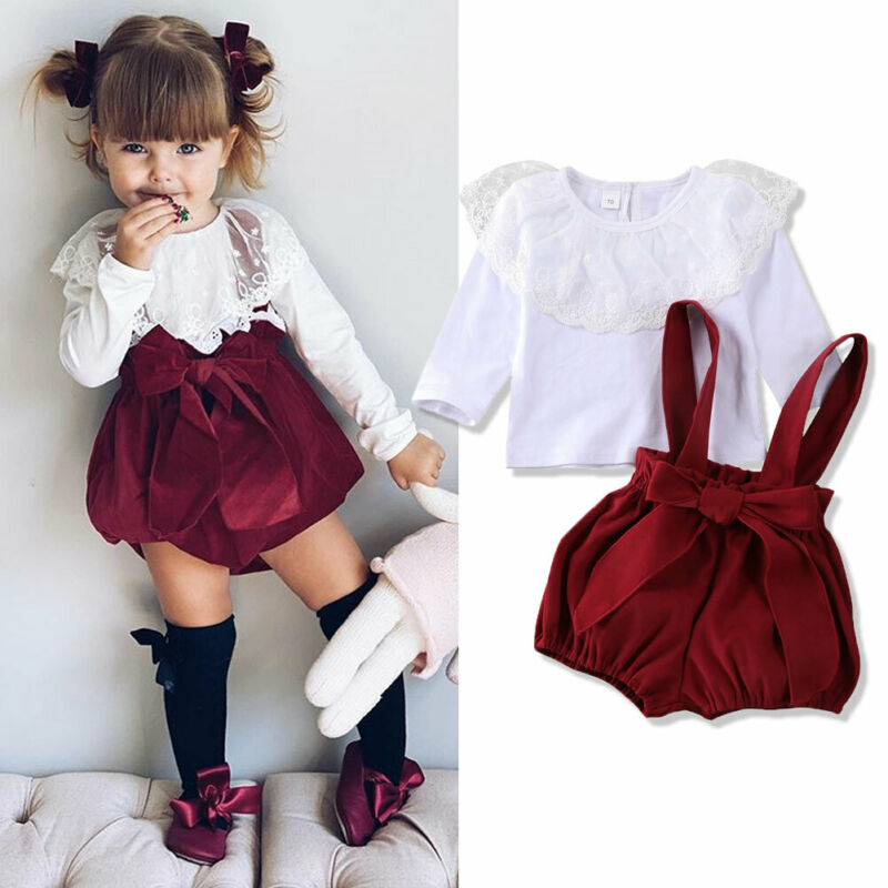 0-24M Newborn Toddler Baby Girls Clothes Set White Lace T Shirt + Bow Bloomer Overalls Shorts Outfits Infant Girl Costumes