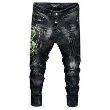 Style européen hommes plein jean de marque hommes pantalon en denim mince jean noir crânes droites Biker trou noir jean pantalon pour hommes