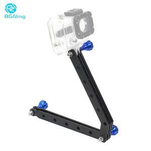 Image 1 - BGNing Aluminum Alloy Mount Helmet Arm Extension Pole + Screw Selfie Stick for Gopro SJCAM for AKASO EK7000 4K Action Camera