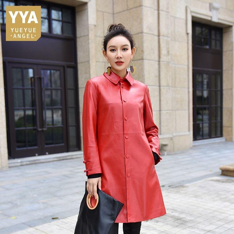 Genuine Leather Overcoat Women Designer Elegant Slim Fit Single Breasted Sheepskin Long Coat Jacket High Quality Red Black M-2XL