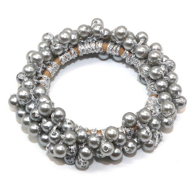 14 Colors Woman Elegant Pearl Hair Ties Beads Girls Scrunchies Rubber Bands Ponytail Holders Hair Accessories Elastic Hair Band 2