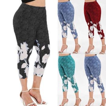 Goowrom Women New High Waist Slim  Legging Plus Size Print Workout Leggings Sporting Fitness