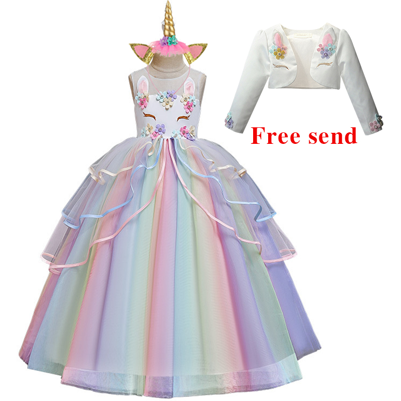 Summer Dress For Girls Party Children's Long Dress Colorful Mesh Cake Fluffy Dress Unicorn Princess Festival Performance Dress
