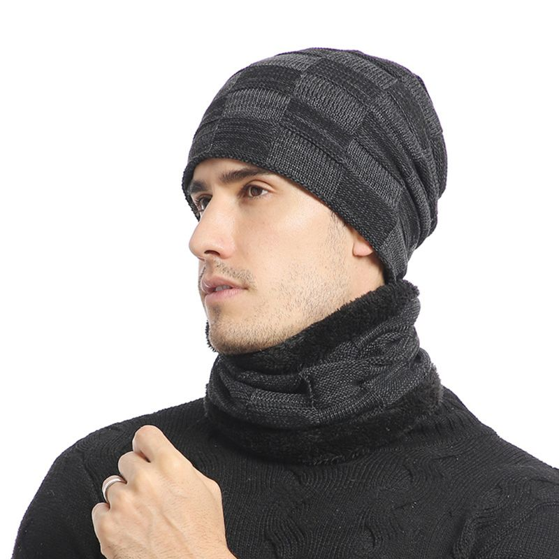 2020 Unisex Winter Jacquard Plaid Knit Beanie Hat Scarf Set Ski Skull Cap Neck Warmer