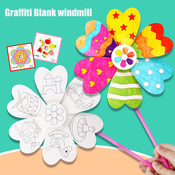 Toys For Children Crafts Children DIY Painting Graffiti Blank Windmilln Learning Education Toys Montessori Teaching Aids Toys 60 pieces blank boards plywood sheets for crafts models