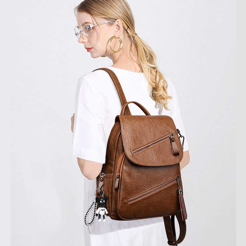 Tassel Soft Pu Leather Backpack Female Litthing Waterproof Vintage Back Pack Women Black Brown Ladies Bagpack Youth High Quality