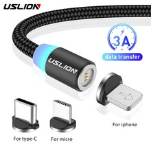USLION 3A Fast Charging Cable Magnetic USB Cable for iPhone 11 Micro USB Cable Fast Charging