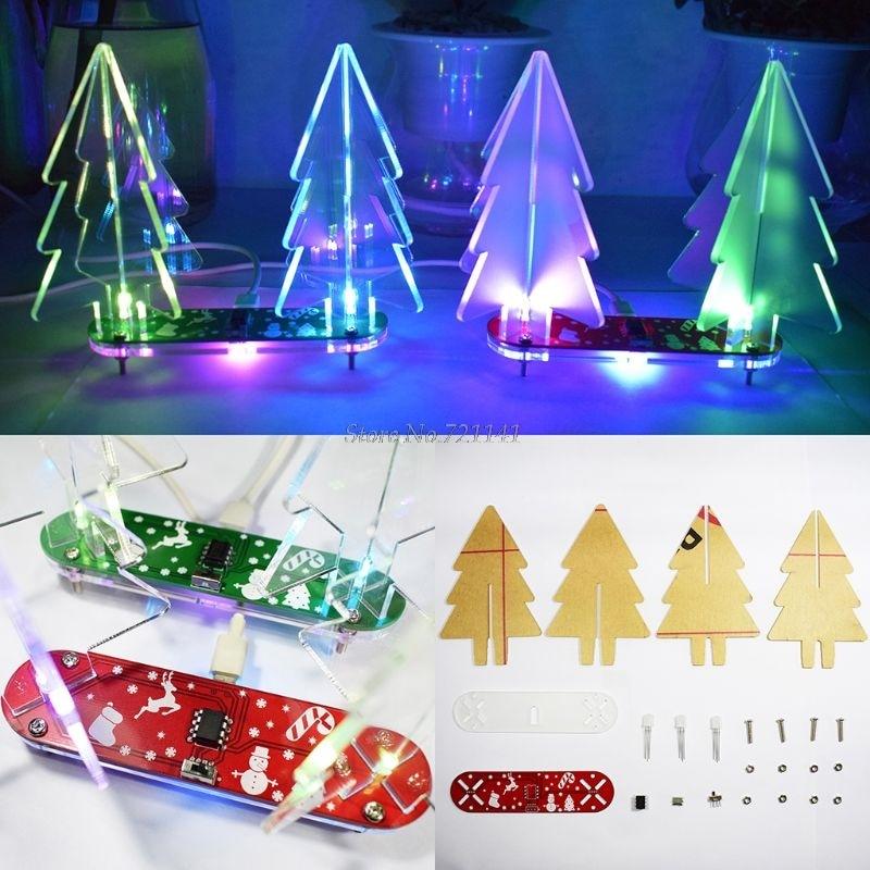 Рождественский подарок X-mas DIY полноцветный светодиодный 3D Акриловый Электронный Обучающий набор для рождественской елки с акрилом оптовая