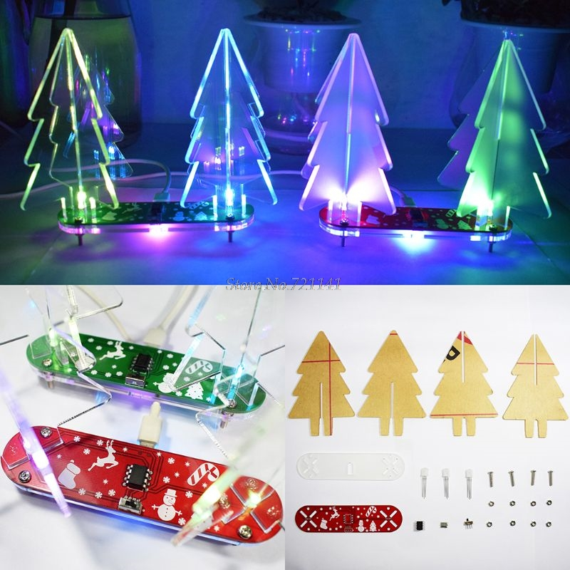 Christmas Gift X-mas DIY Full Color Changing LED Acrylic 3D Christmas Tree Electronic Learning Kit With Acrylic Whosale&Dropship