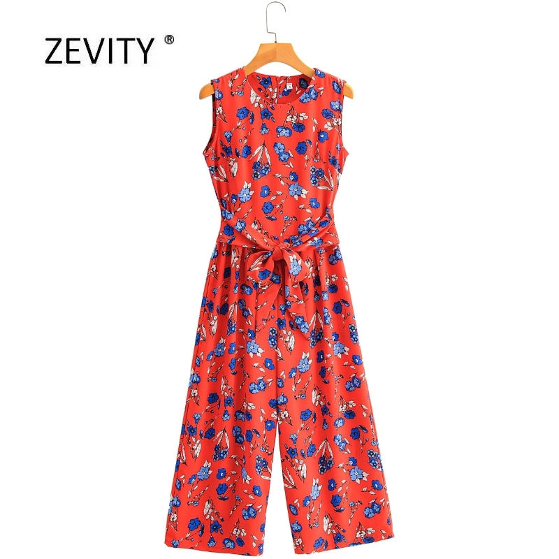 2020 New Women Vintage O Neck Sleeveless Flower Print Sashes Casual Wide Leg Jumpsuits Ladies Zipper Conjoined Chic Rompers P820