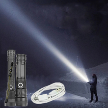 2000 Lumens Powerful LED Flashlight 18650 Battery Outdoor Waterproof USB Rechargeable Telescopic Zoom High-power LED Flashlight.