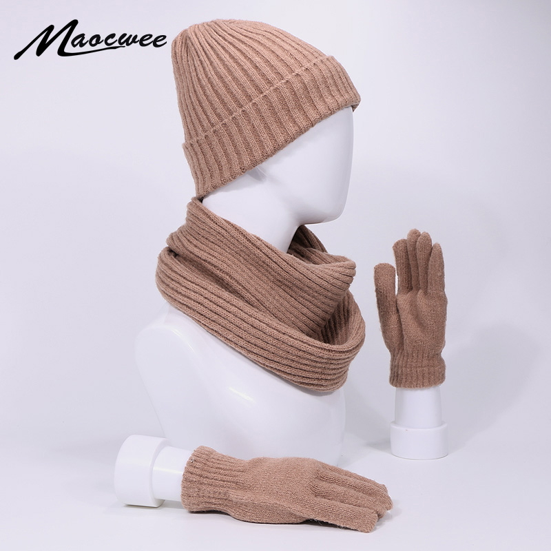 3Pcs Skullies Beanie Hat Scarf Gloves Set For Men And Women Winter Outdoor Warm Thick Beanies Cap With Lining Ring Scarves Full Finger Gloves Set Soft Neck Balaclava Bonnet Beanie Hats Cap
