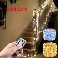 Cadena de luces LED de cobre con USB, guirnalda con alambre para el Día de San Valentín, decoración de boda, Pascua, Ramadán, decoración de fiesta de cumpleaños, 5m, 10m, 20m
